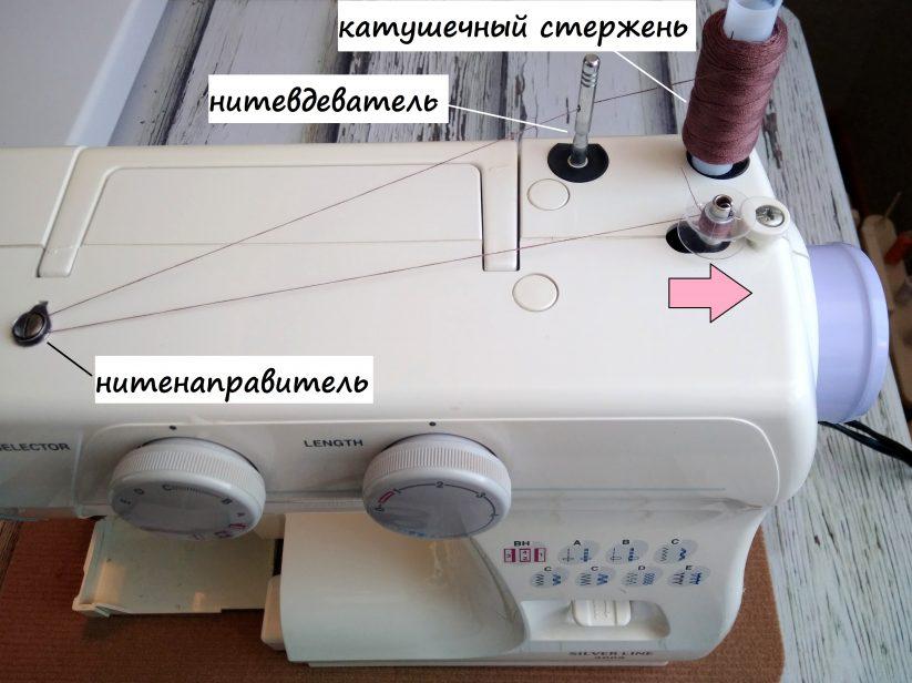 как заправлять нить в швейную машинку