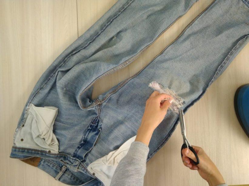 как зашить дырку на джинсах чтобы не было видно