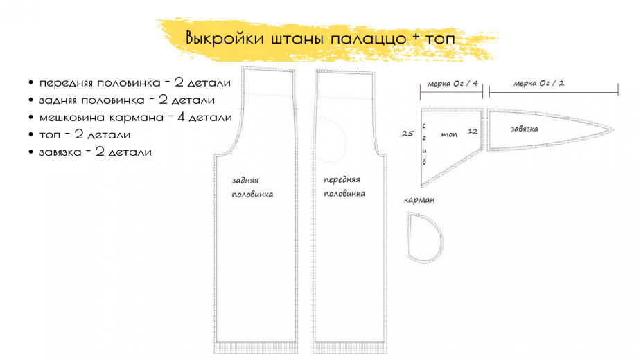 брюки палаццо с завышенной талией выкройка